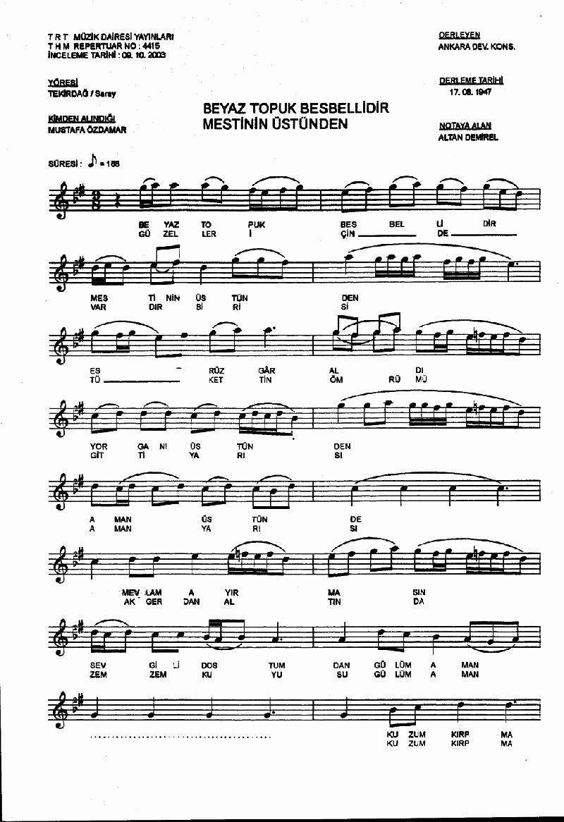 Beyaz Topuk Besbellidir Nota 1