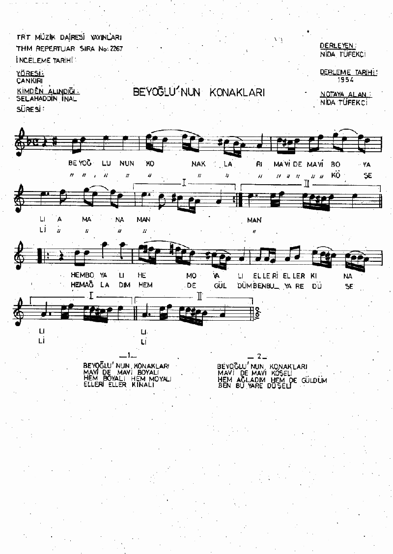 Beyoğlu'nun Konakları Nota 1