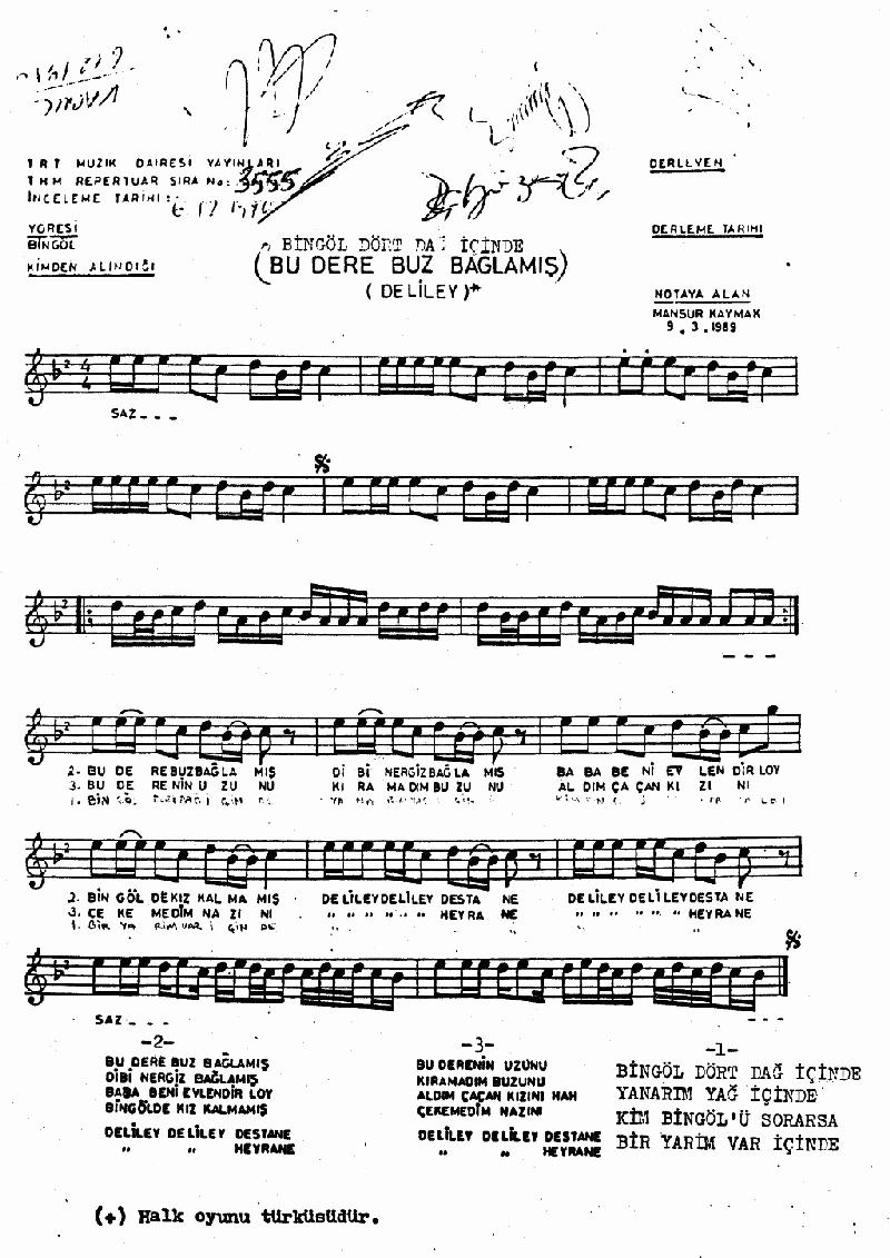 Bingöl Dört Dağ İçinde (deliley) Nota 1