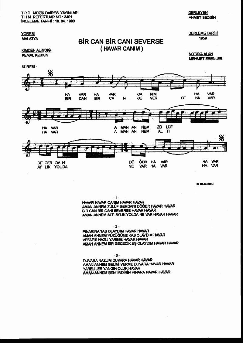 Bir Can Bir Canı Severse Nota 1