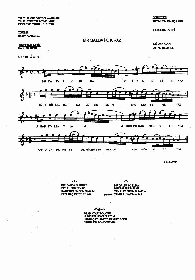 Bir Dalda İki Kiraz - 1 Nota 1